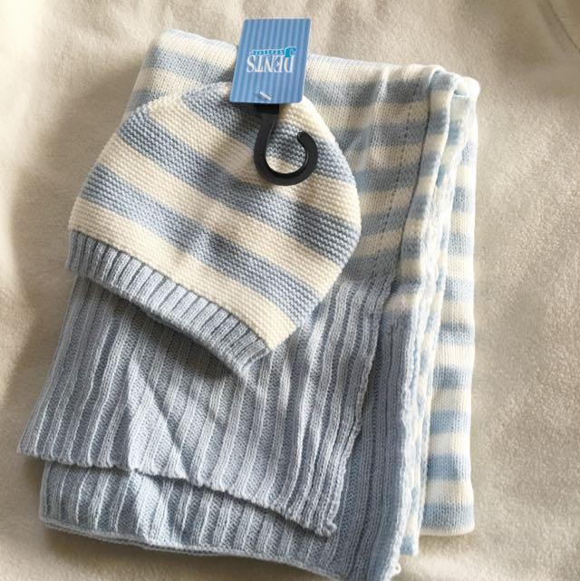 Baby Beanie&Blanket Knit Set
