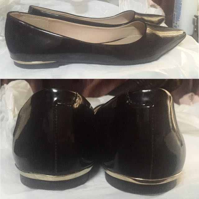 Black Pointed Flats With Gold Accent