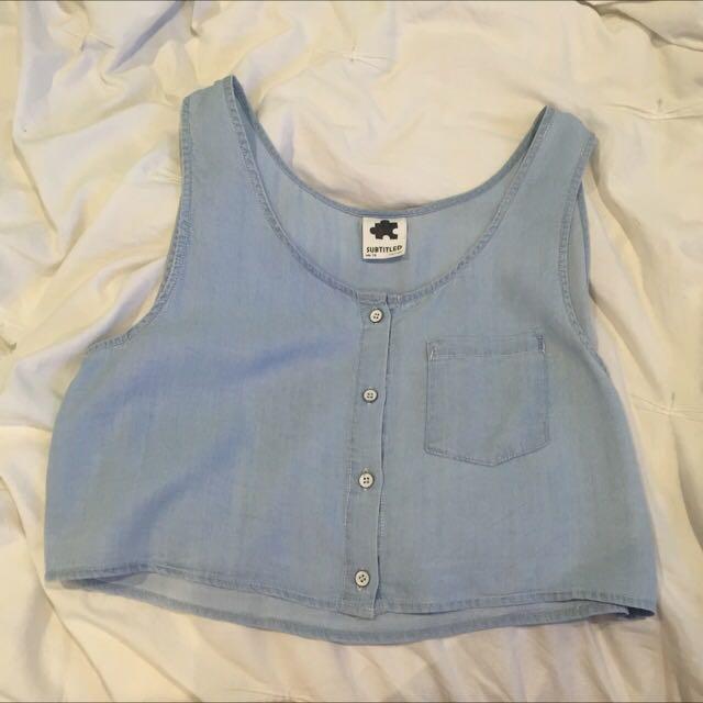 Blue cropped linen shirt