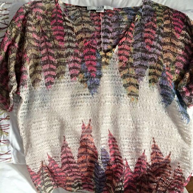 Boho Style Forever 21 Mesh V-neck T-shirt