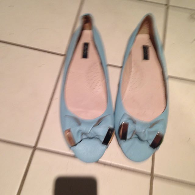 Brand New Blue Open Toe Bow Flats
