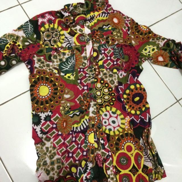 Colorful 3/4 Sleeved Khaftan Shirt