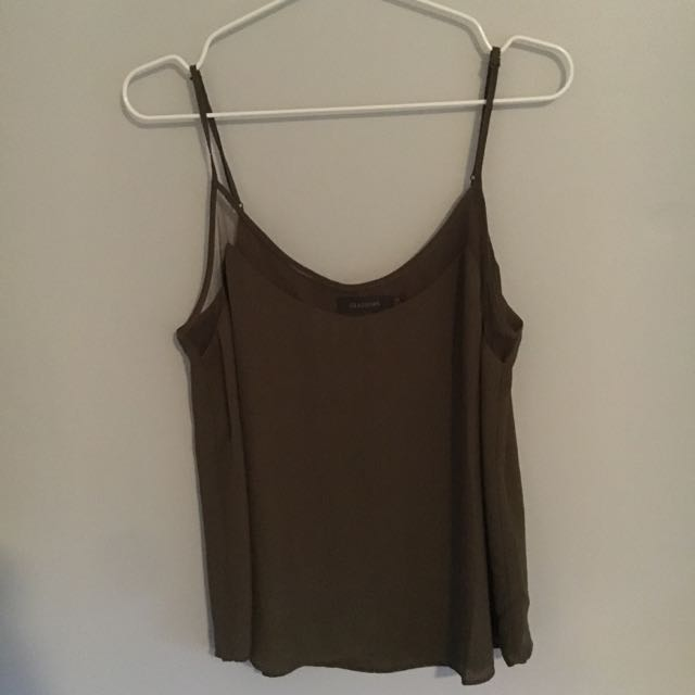 Glassons Khaki Green Singlet With Mesh Detail Size 10