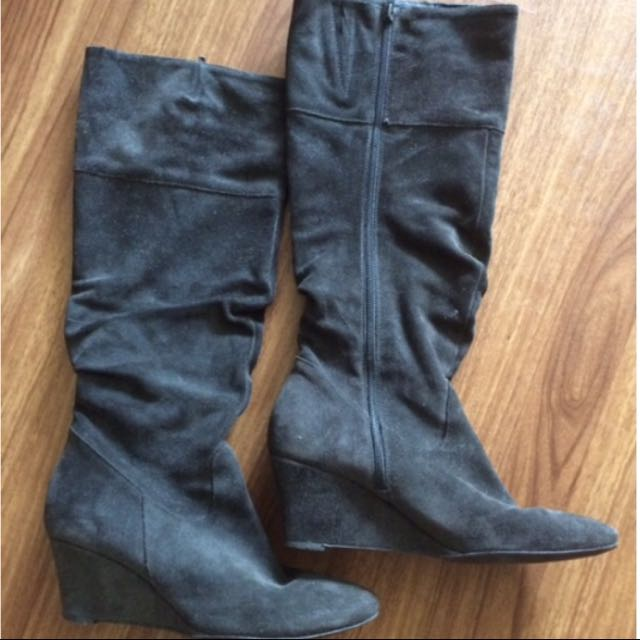 Grey Suede Tall Boots