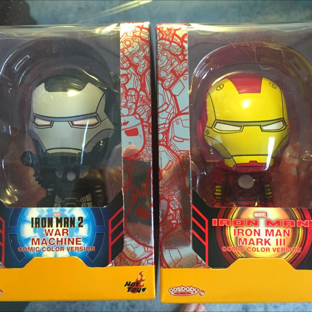 Hot Toys Cosbaby SET - ironman Mark3 & Warmachine. COMIC COLOR VERSION