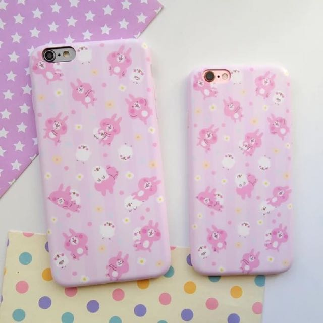 ✨超可愛卡納赫拉粉色條紋iphone6/6s/6splus磨砂軟殼手機殼