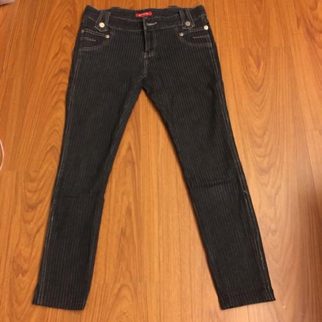 Jeans條紋牛仔長褲