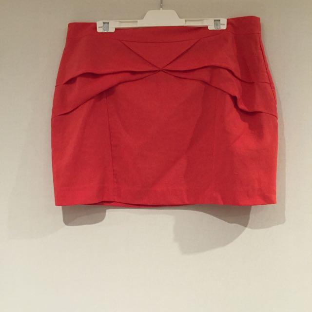 ⭐️Mini SPORTSGIRL Orange Pleated Origami Detail Skirt Sz 16⭐️