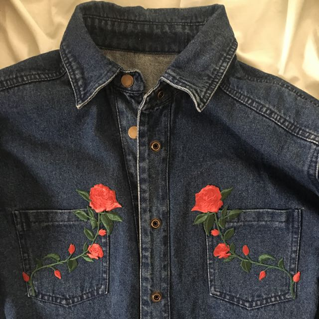PATCHMI Denim Jacket with Flower Patches