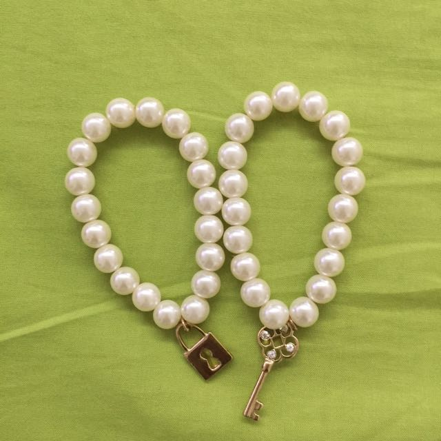 Pearl Bracelet Duo With Lock-and-Key-Charms