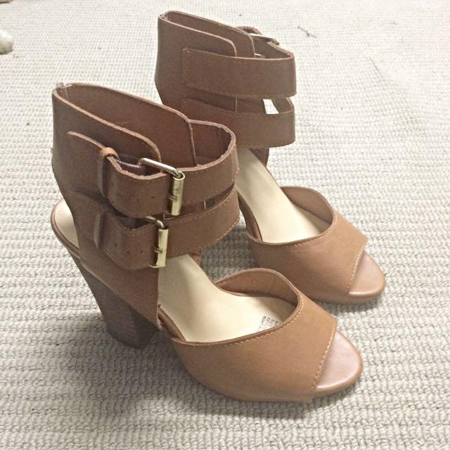 Tan Buckle Heels