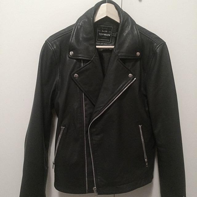 Topman Leather Biker Jacket - Medium