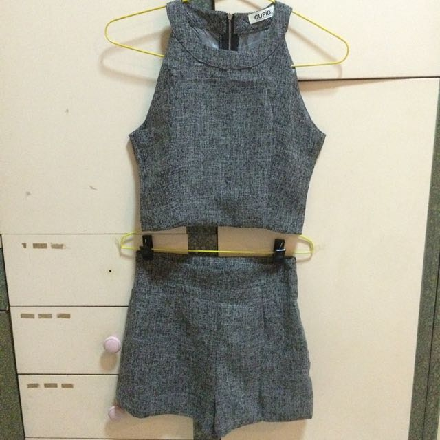 TWO PIECE GREY ROMPER SET