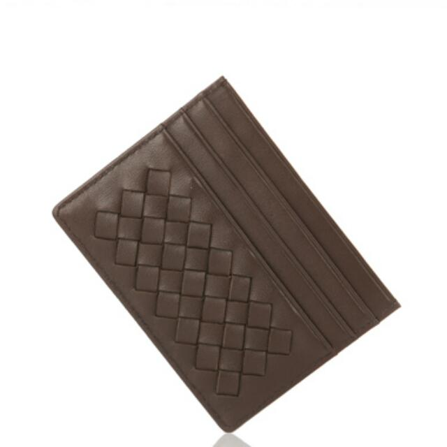 Woven Leather 8CC Card Holder Case
