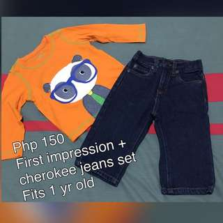 Reserved Jeans And Orange Shirt Set For 1 Yr Old