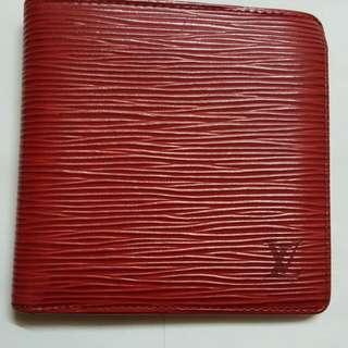 LV水波紋紅色短夾