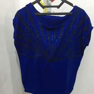 Atasan Biru Oversize Tshirt Swarovski
