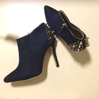 Studded Ankle Bootie Heels