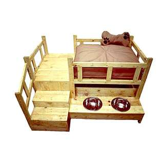 Dog Bed With Feeding Containers