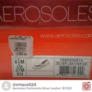 Repriced Aerosoles Fashionista Silver Leather Flats