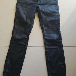 Bardot Jeans Wet Look 7/8 With Ankle Zips Size 25