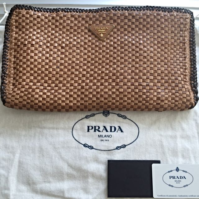 [100% Authentic] Prada Madras Woven Leather Clutch