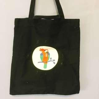 鸚鵡時鐘帆布包 手提包
