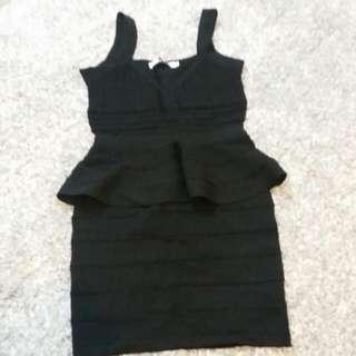 Black Pleplum Bandage Dress