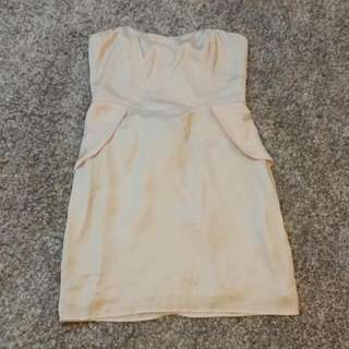 Bardot Peach Silk Pleplum Dress