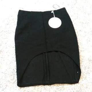 Black Pencil Short Front Skirt