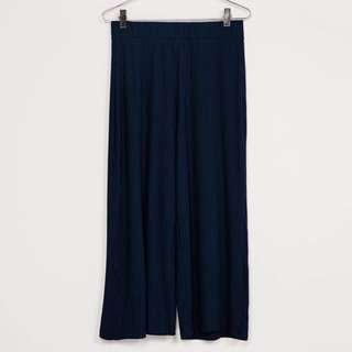 「Bershka」全新 羅紋深藍色長褲 棉 今年流行 直橫條褲