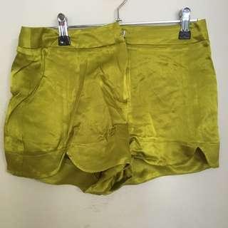 Topshop Mustard Green Silky Highwaisted Shorts