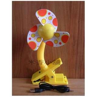 嬰兒手推車風扇夾 嬰兒車涼風扇 嬰兒推車電扇 嬰兒床夾扇 夾扇(USB+電池)兩用