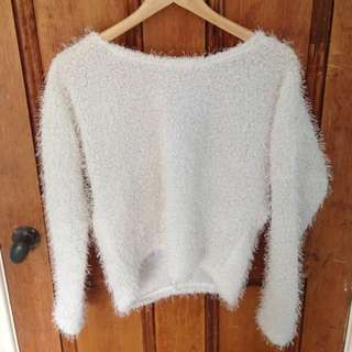 valley girl white furry jumper