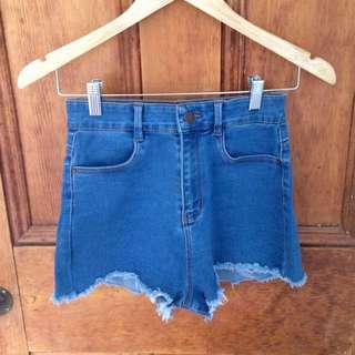 high waisted frayed ends denim shorts
