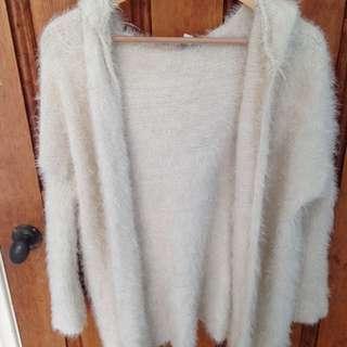 cream extra fluffy and soft cardigan
