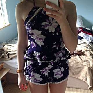 purple and white floral jumpsuit