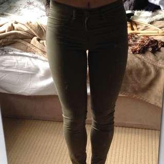 khaki mid rise jeans