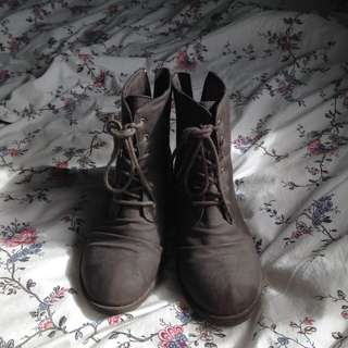 brown rustic lace up boots