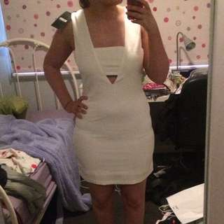 Missguided White Body Co Dress With Cut Outs Size 12