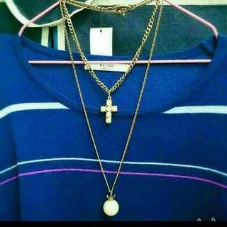 珍珠十字&皇冠項鍊