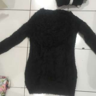 Black short fur dress