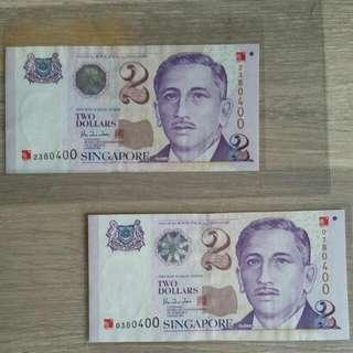 UNC Two $2 Millenium Notes