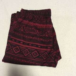Red And Black Aztec Print Leggings