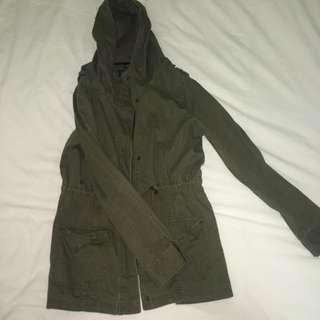 Cotton On Khaki Green Hooded Anorak Size 12 Good Condition