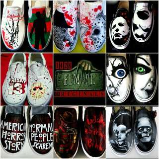 Horror Themed Hand Pained Canvas Shoes Any Size Freddy Krueger Jason Voorhees Michael Myers Chucky Frankenstein Freddy Vs Jason American Horror Story