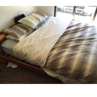 Bed Base, Mattress & Headboard Nightstand