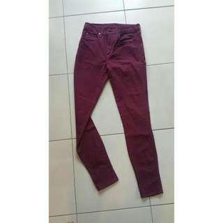 Nobody Skinny Jeans In Burgundy/Maroon Size 28