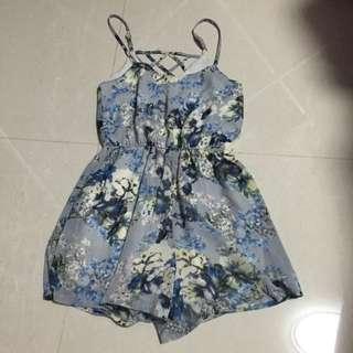 Blue Floral Criss Cross Romper