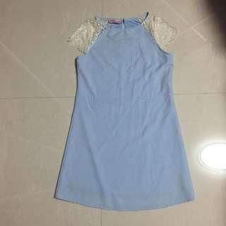 TSW blue Crochet Shift Dress